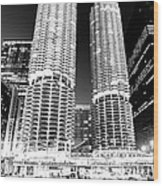 Marina City Towers At Night Black And White Picture Wood Print