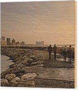 Marina Pier And Pan Of Coast Wood Print