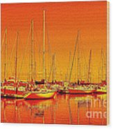 Marina Reflections Wood Print