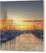 Marina Summer Sunset Wood Print