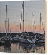 Marina Sunset Afterglow Wood Print