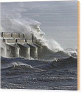 Marina Waves Wood Print by Barry Goble