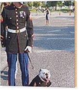 Marine And Bulldog Wood Print