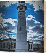 Marine City Michigan Lighthouse Wood Print