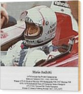 Mario Andretti Wood Print by Don Struke