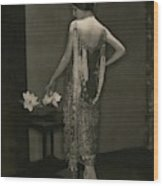 Marion Morehouse Wearing A Chanel Dress Wood Print