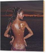 Marisa Berenson With Her Hair Braided Wood Print