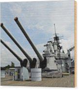 Mark 7 16-inch Gun Barrels On Deck Wood Print