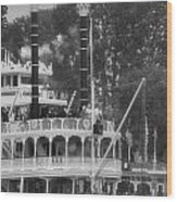 Mark Twain Riverboat Frontierland Disneyland Vertical Bw Wood Print