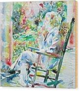 Mark Twain Sitting And Smoking A Cigar - Watercolor Portrait Wood Print by Fabrizio Cassetta