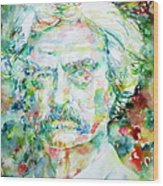 Mark Twain - Watercolor Portrait Wood Print by Fabrizio Cassetta