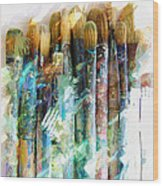 Marker Sketch Of Artist's Brushes Wood Print