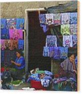 Market At Santiago Atitlan Guatemala Wood Print
