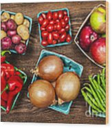 Market Fruits And Vegetables Wood Print by Elena Elisseeva