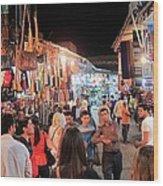Market Life At Night 2 Wood Print