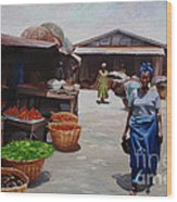 Market Scene Wood Print