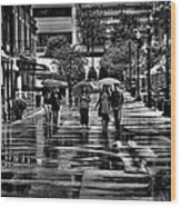 Market Square In The Rain - Knoxville Tennessee Wood Print
