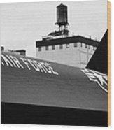 markings on a Lockheed A12 Blackbird on the flight deck of the USS Intrepid  Wood Print