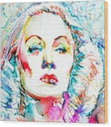 Marlene Dietrich - Colored Pens Portrait Wood Print