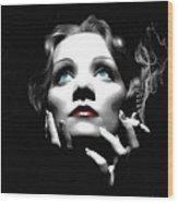 Marlene Dietrich Portrait Wood Print