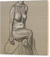 Marli - Seated Nude Wood Print