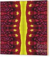 Maroon And Yellow Chrysanthemums 2 Polar Coordinates Effect Wood Print