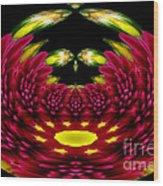 Maroon And Yellow Chrysanthemums Polar Coordinates Effect Wood Print