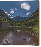 Maroon Bells At Night Wood Print