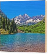 Maroon Bells In Color Wood Print