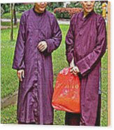 Maroon-robed Monks At Buddhist University In Chiang Mai-thailand Wood Print
