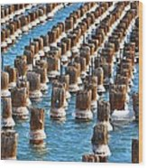 Marquette Harbor Icy Piers Wood Print