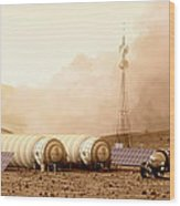 Mars Dust Storm Wood Print