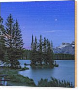 Mars Over Mt. Rundle Wood Print