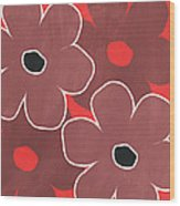 Marsala And Red Flowers- Bold Floral Art Wood Print