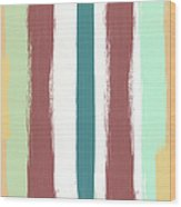 Marsala Stripe- Abstract Pattern Painting Wood Print