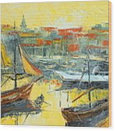 Marseille Harbour Wood Print