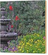 Garden Fountain And Flowers Wood Print
