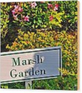 Marsh Garden Sign And Flowers Wood Print