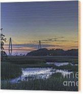 Marsh To Bridge Wood Print
