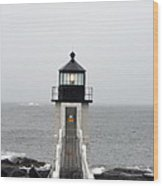 Marshall Point Light On A Foggy Day Wood Print