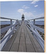 Marshall Point Lighthouse And Walkway Wood Print