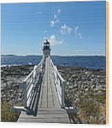 Marshall Point Lighthouse From Shoreline Wood Print