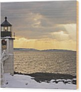 Marshall Point Lighthouse In Winter Maine  Wood Print