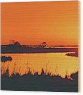 Marshland At Dusk, Bayou Country, Route Wood Print