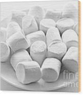 Marshmallows On Plate Wood Print