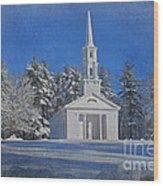 Martha Mary Chapel In Winter Wood Print by Jayne Carney