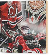 Martin Brodeur Collage Wood Print