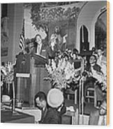Martin Luther King Jnr 1929 1968 American Black Civil Rights Campaigner In The Pulpit Wood Print