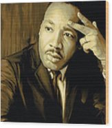 Martin Luther King Jr Artwork Wood Print by Sheraz A