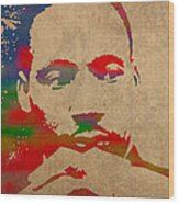 Martin Luther King Jr Watercolor Portrait On Worn Distressed Canvas Wood Print